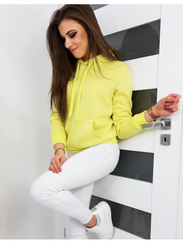 Žltá dámska mikina s kapucňou Basic