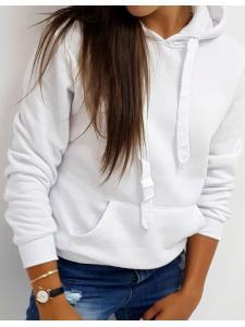 Dámska mikina Basic s kapucňou biela