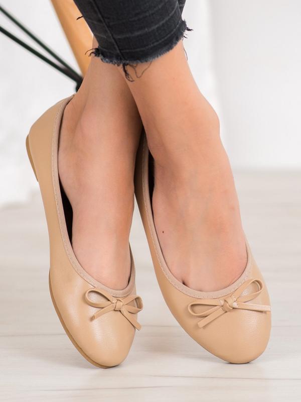 Béžové baleríny z eko kože