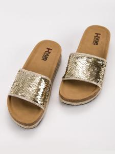 Zlaté šľapky s flitrami