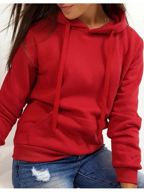 Dámska mikina Basic s kapucňou bordová