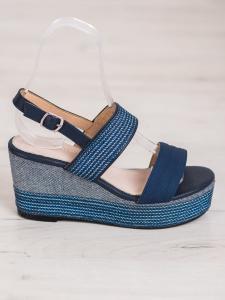 Tmavo modré sandálky na kline