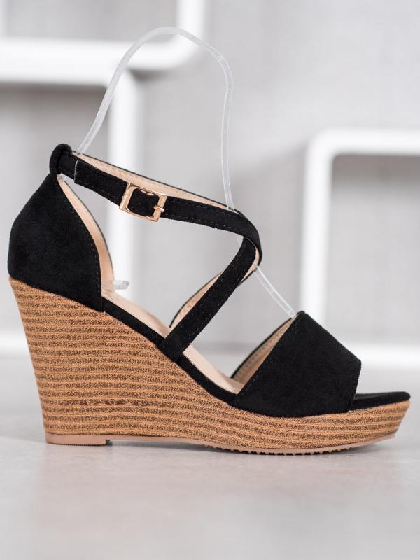 Čierne semišové topánky na kline