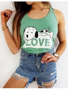 Zelene dámske tričko Snoopy Love