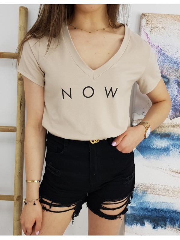 Béžové dámske tričko Now