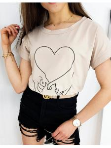 Béžové dámske tričko Love Hand