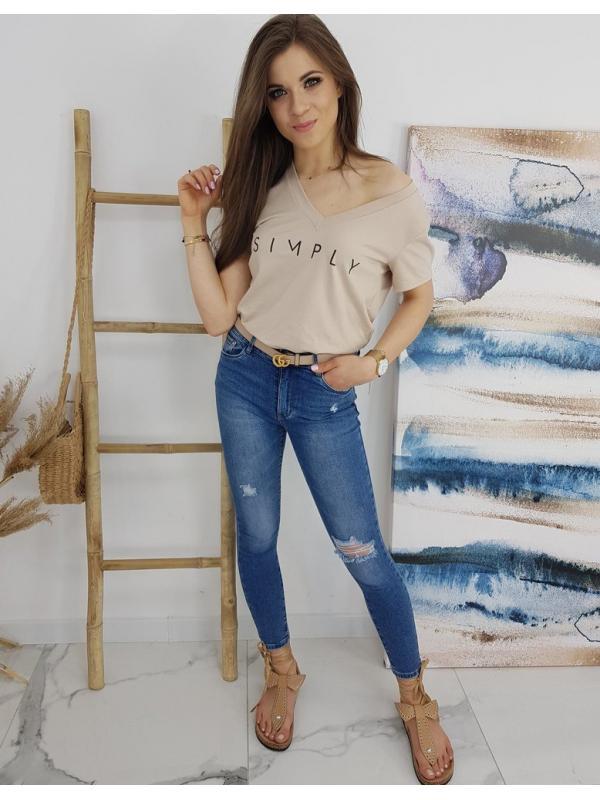 Béžové dámske tričko Simply