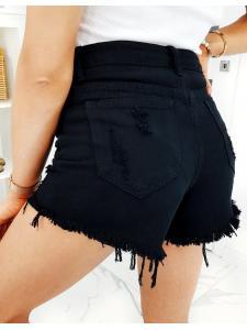 Čierne dámske džínsové šortky Rixone