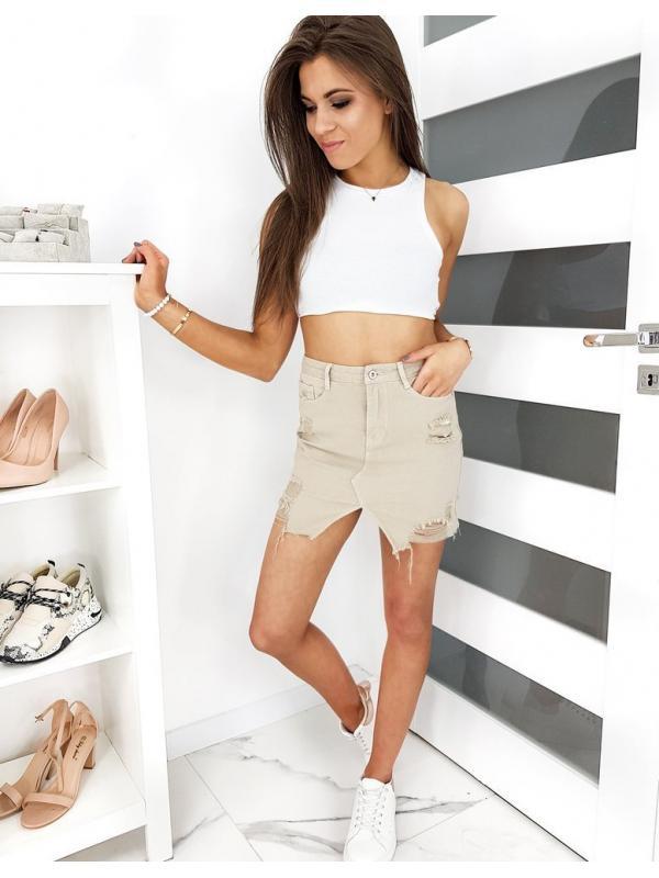 Kávová džínsová sukňa Fusim