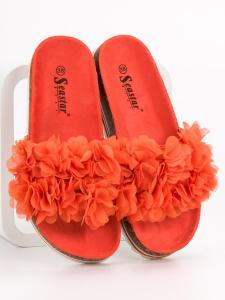 Módne oranžové šľapky