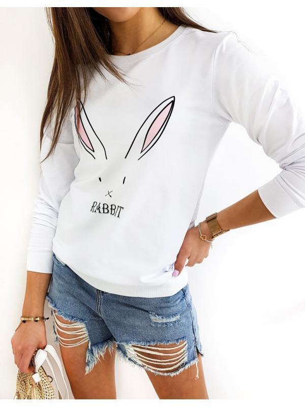 Biela dámska mikina Rabbit