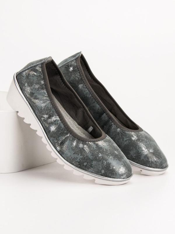 Tmavo šedé kožené baleríny