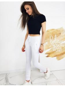 Biele dámske teplákové nohavice Fits