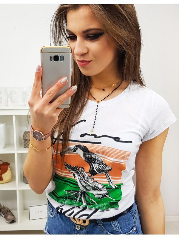 Dámske tričko Pelikan s potlačou biele