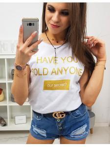 Dámske tričko Secret s potlačou biele