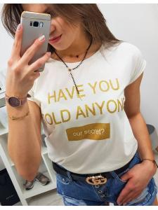 Dámske tričko Secret s potlačou smotanové
