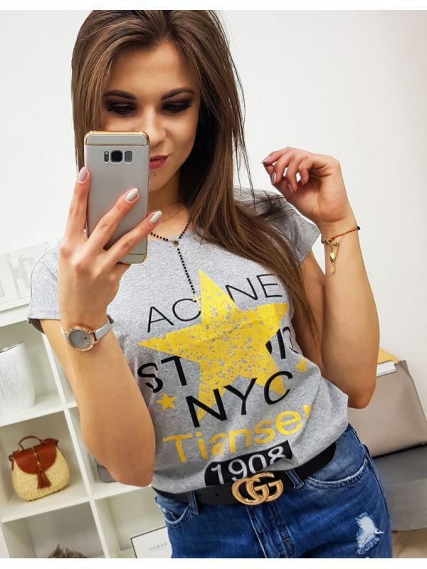 Dámske tričko Star s potlačou svetlošedé