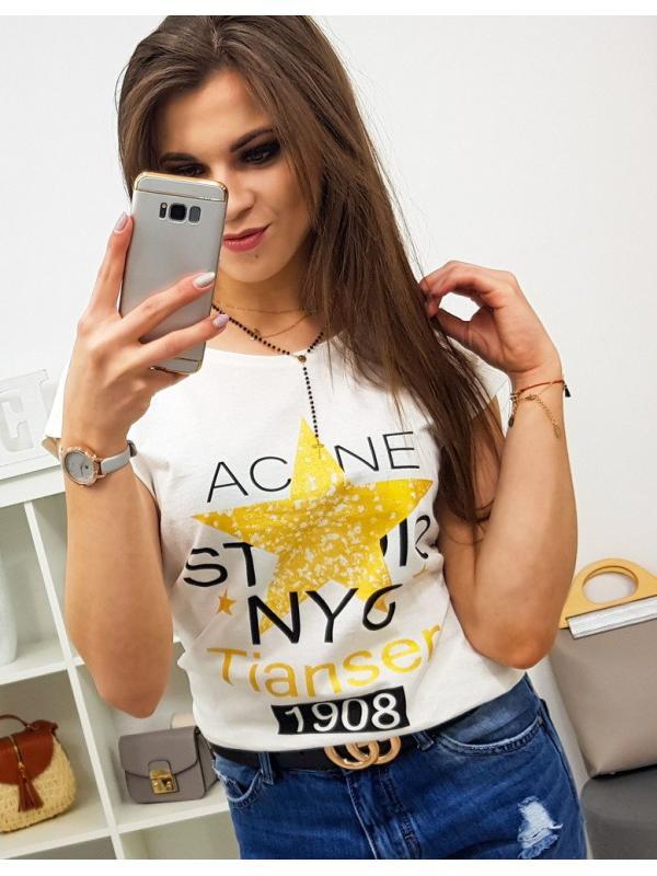 Dámske tričko Star s potlačou smotanové