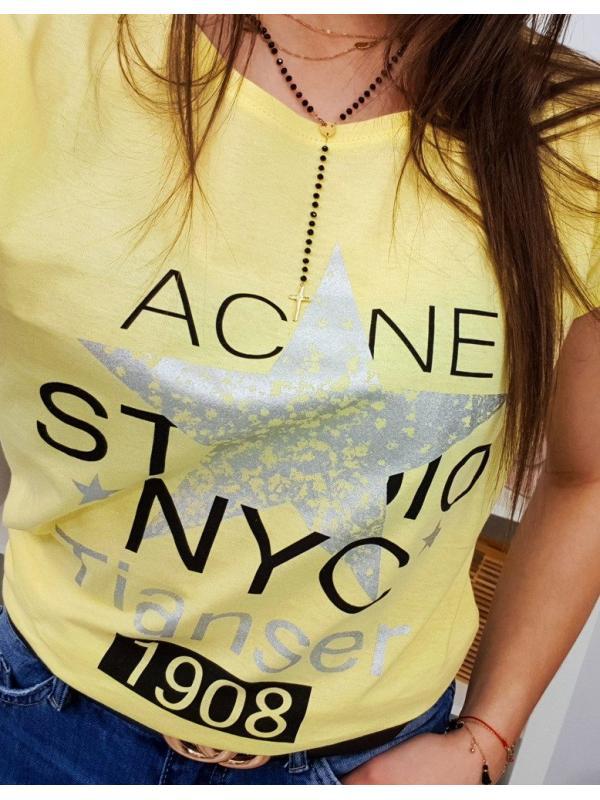 Dámske tričko Star s potlačou citrónové