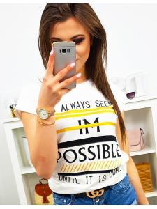 Dámske tričko Possible s potlačou smotanové