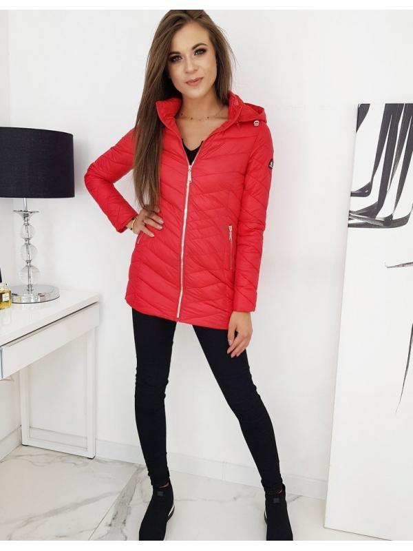 Červený dámsky prešívaný kabát Minos