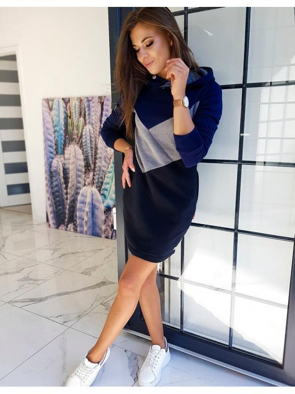 Tmavomodré šaty Elipsa