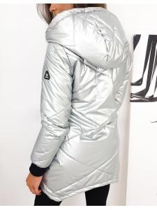 Prešívaný dámsky kabát Cosmi v striebornej