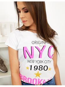 Biele dámske tričko s potlačou