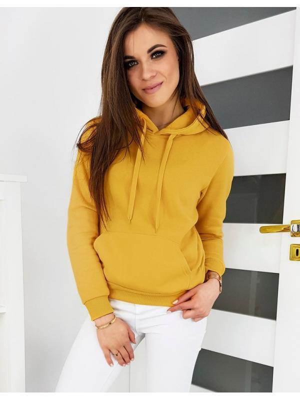 Dámska mikina Basic s kapucňou žltá