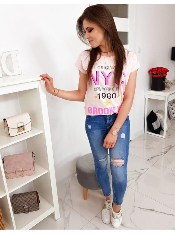 Púdrovo ružové dámske tričko s potlačou
