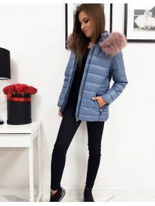 Dámska prešívaná modrá zimná bunda Sara