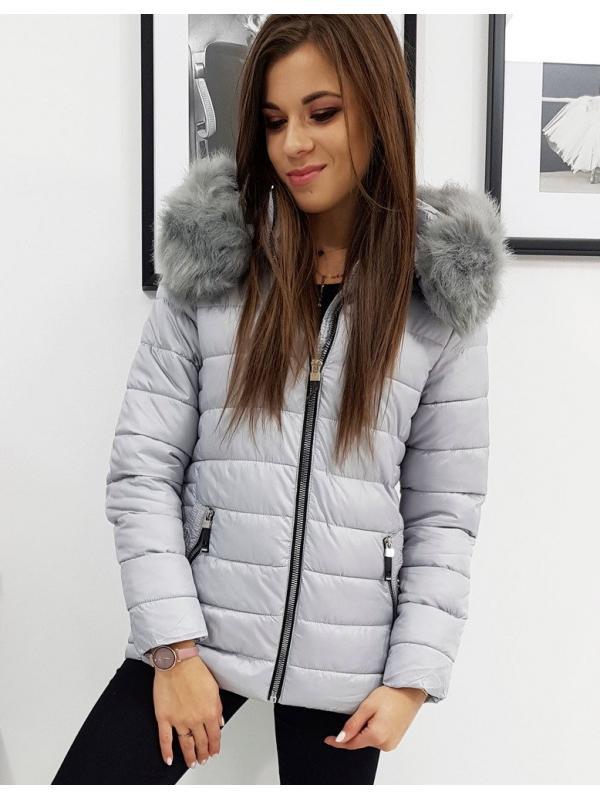 Dámska prešívaná šedá zimná bunda Sara