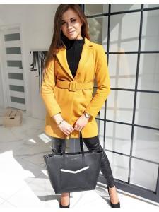 Horčicový dámsky jednoradový kabát Dario