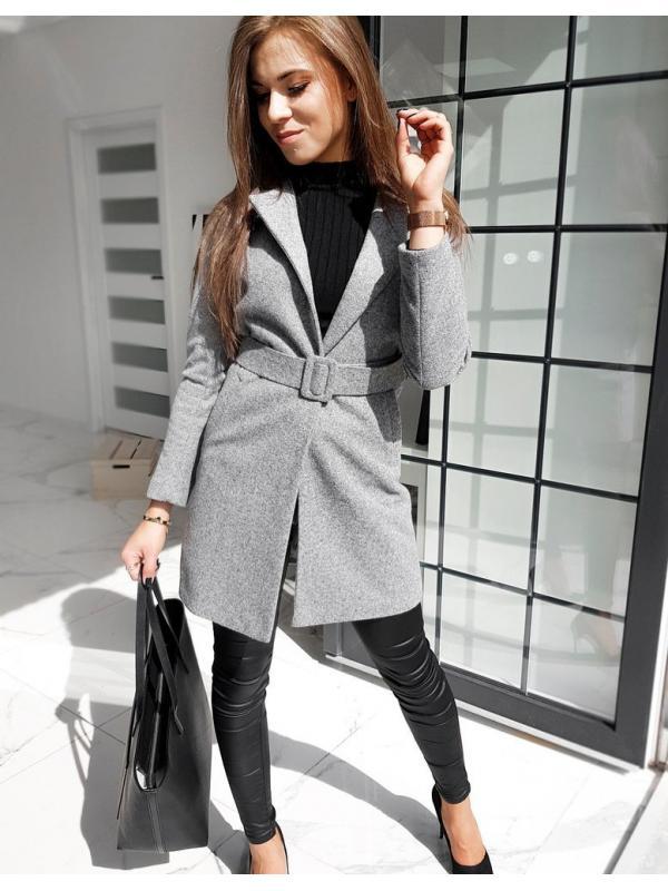 Svetlošedý dámsky jednoradový kabát Dario
