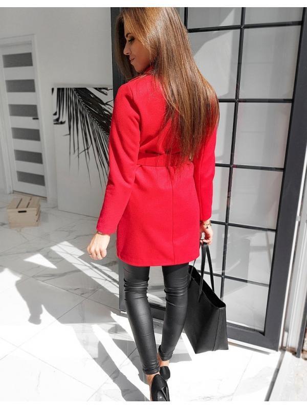 Červený dámsky jednoradový kabát Dario