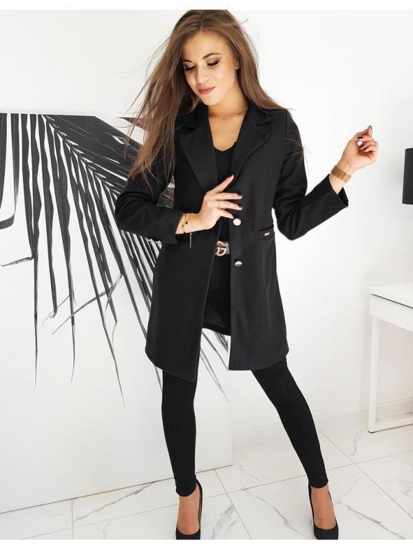 Čierny dámsky jednoradový kabát Street Like