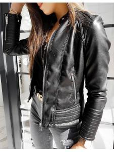 Dámska čierna bunda Madamse z ekokože