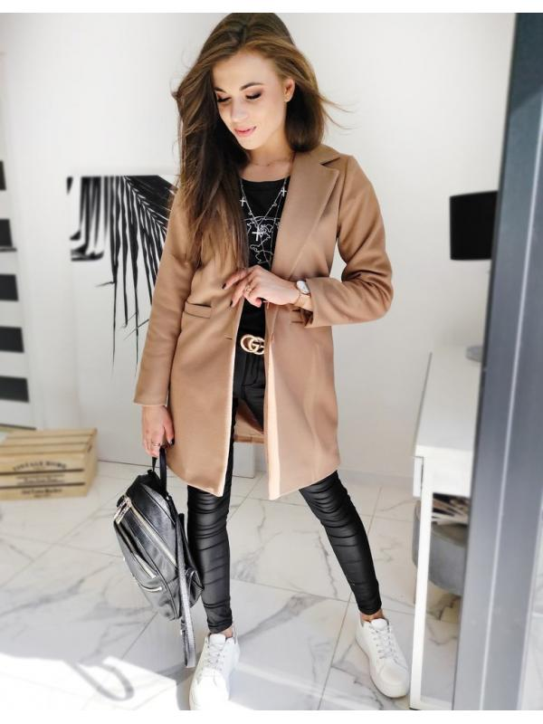 Hnedý dámsky jednoradový kabát Dresno