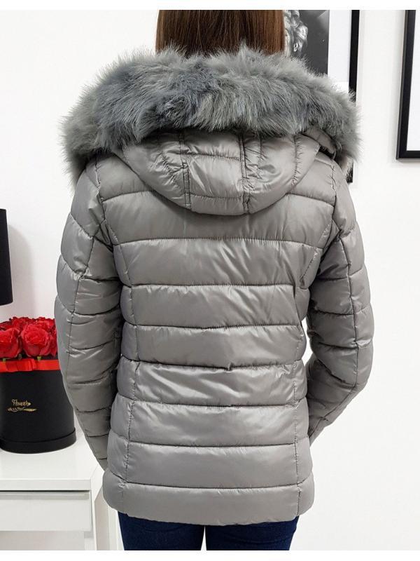 Dámska prešívaná bunda Estella zimná tmavošedá