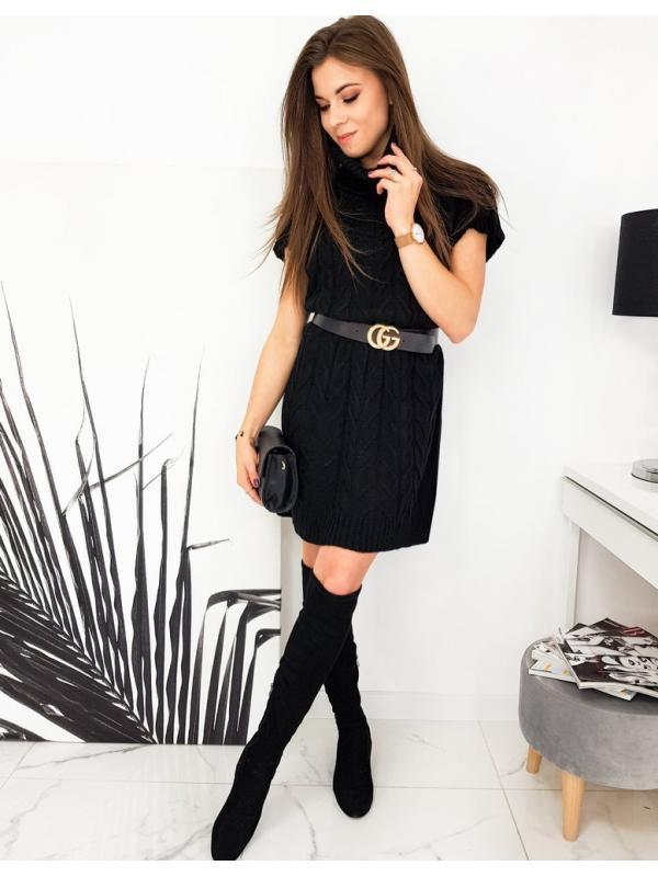 Čierny svetrové šaty Duo