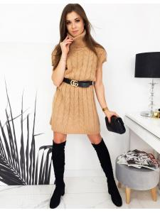 Svetlohnedé svetrové šaty Duo