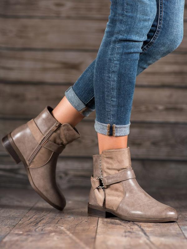 Dámske členkové topánky v béžovom odtieni