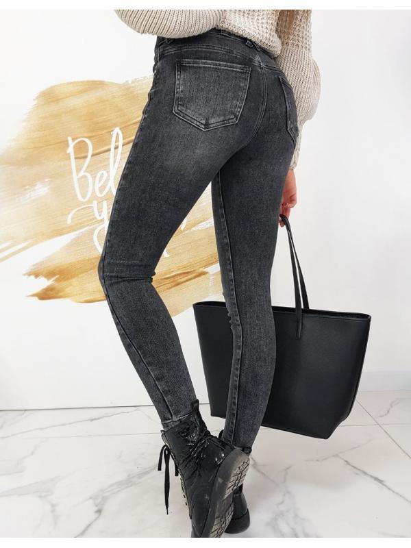 Tmavošedé dámske džínsy Skinny Fit Nelson
