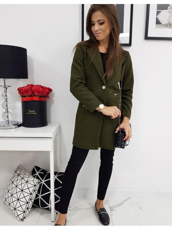 Dámsky kabát Street Like jednoradový olivový