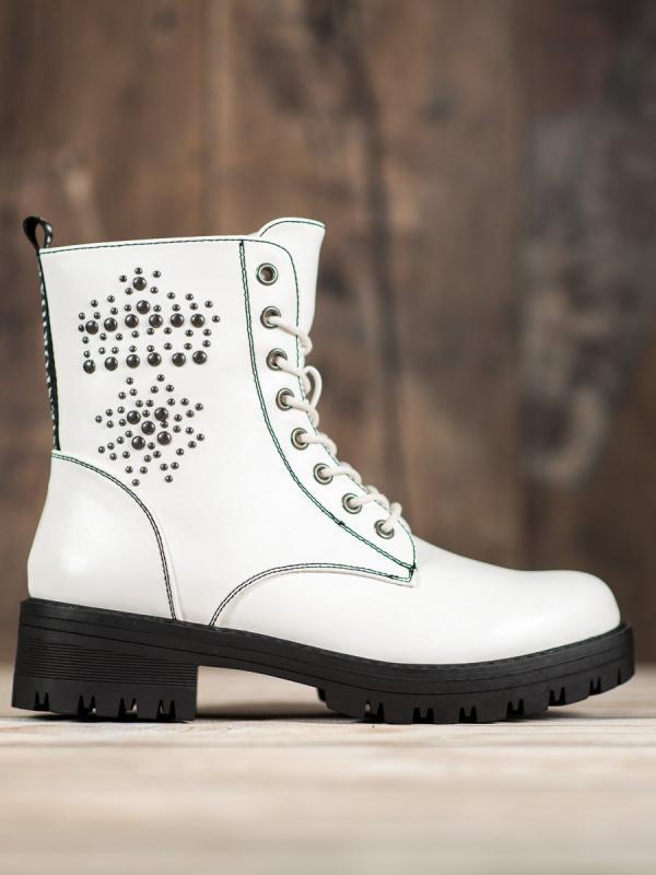 Členkové topánky gladiátorky v bielom odtieni