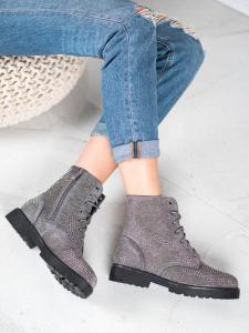 Členkové topánky v šedom odtieni