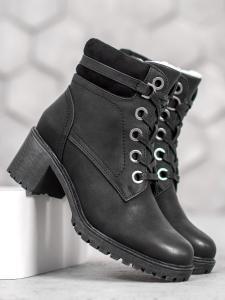 Zateplené členkové topánky na podpätku