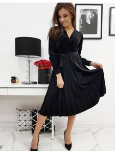 Atlasové čierne šaty Efecto