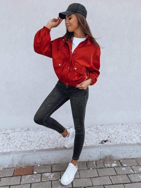 Červená dámska oversize bunda Graceful