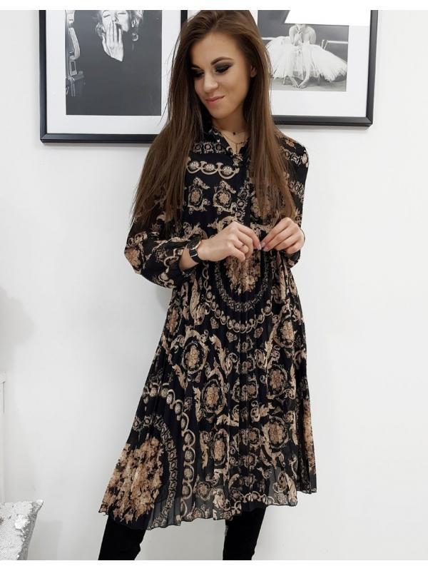 Čierne prekladané šaty Ofelia